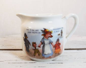 Children's Cream Pitcher, Anthropomorphic, Pigs, Dog, Elephant, made in Germany, Vintage Ceramic