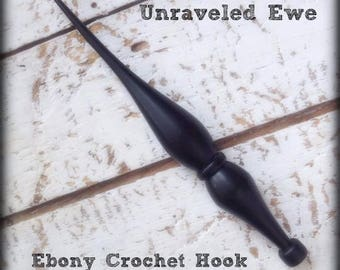 Wooden Crochet Hook / Hand-turned Ebony Crochet Hook