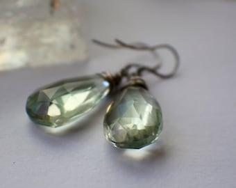 Green Amethyst Earrings, Amethyst Gemstone Earrings,