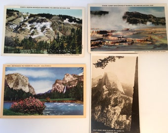 4 Vintage Yellowstone and Yosemite Postcards - 2 of each. Unused