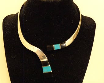 """Sterling Silver Black Onyx and Turquoise Collar - 15"""""""