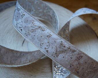 Vintage white woven jacquard ribbon trim with embroidered silver motifs