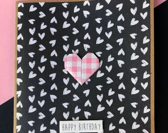 Happy Birthday Card - Pink Origami Heart, Pink, Hearts, Girl, For Her, Girlfriend, Mum