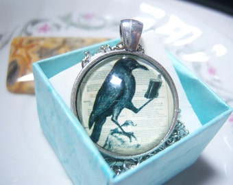 Cute Crow Raven Reading a Book Glass Cabochon Necklace, Book Lover Jewelry, Book Collector, Librarian, Book Club Gift, Writers Gift, Teacher