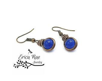 Blue jade earrings, antique earrings, gemstone earrings, royal blue earrings, wire wrap earrings, beaded earrings, copper earrings