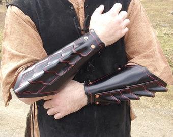 Black Leather Larp Warlock Bracers