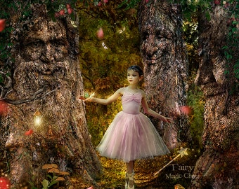 Trees with faces digital background, 3 versions , 3 enchanted forest digital backdrops , fairy tale prop, fantasy for  photography composite