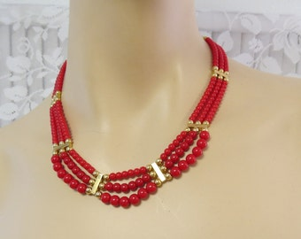 Red and Gold Beaded Necklace Multi strand - Glass beads