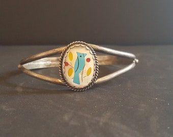 Vintage Navajo ZUNI turquoise bird mother of pearl sterling silver cuff bracelet