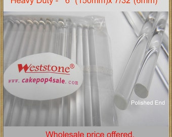 """Heavy duty - 25pcs 6"""" (15cm)  Acrylic Clear Sticks For Cake Pops Lollipop Candy or Candy Apples"""