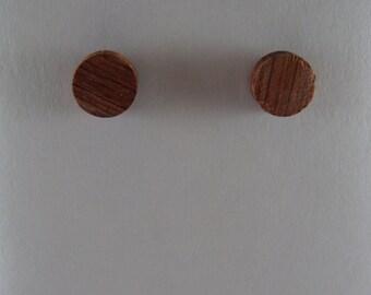 Bubinga Wood Round Stud Earrings ~ 3/8 Inch