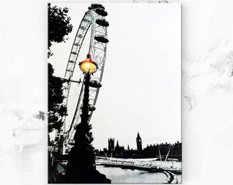 "London Print - London England - Canvas Art Print - London Cityscape - London Art - London Gift - Black and White Photo on Canvas - 8""x12"""