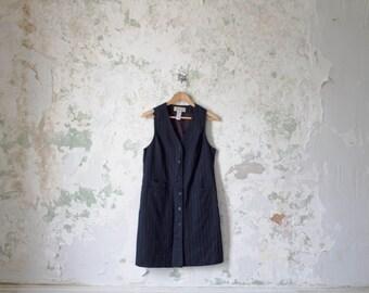Vintage Pinstripe Dress - 90s Minimalist Dress - Navy Blue New York Striped Dress Jumper