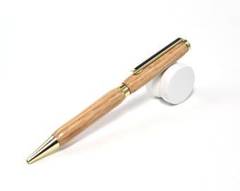 Handmade Oak Wood Pen with Gold Accents - Ballpoint - Wooden Pen - Custom