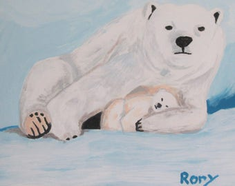Polar Bears, an acrylic on canvas painting by Rory an artist with autism