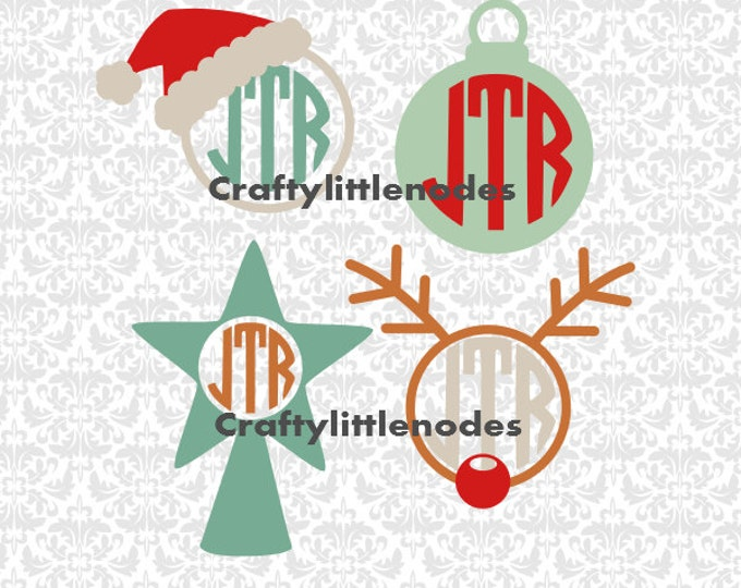 Christmas Monograms Rudolf Ornament Santa Hat Frames SVG STUDIO Ai EPS Scalable Vector Instant Download Commercial use Cutting File Cricut