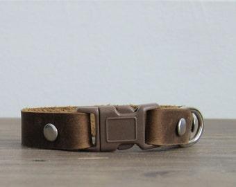 Purrfect Distressed Brown Latigo Leather Cat Collar - Safety Breakaway Buckle