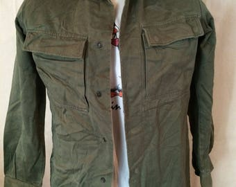 Vintage Dutch Army Shirt - Hipster - The Netherlands - Autumn Look - Rebel - Military - Size Medium