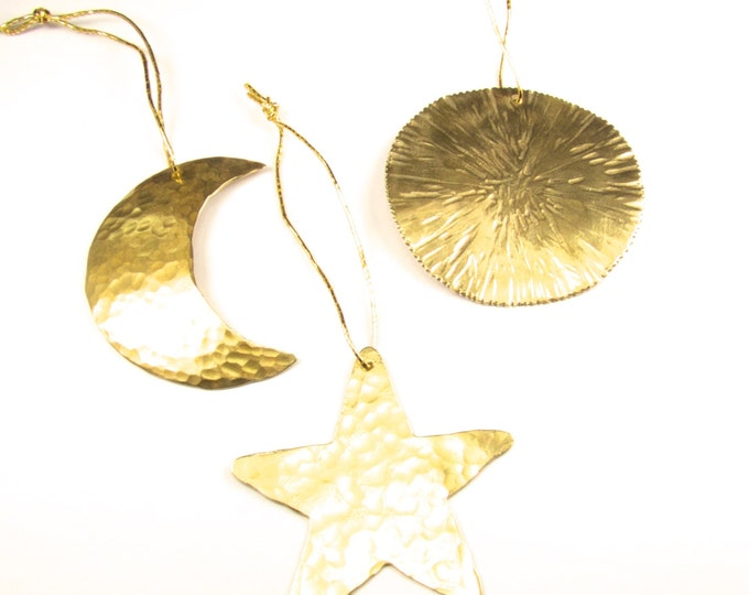 Set Of Three Christmas Tree Ornaments, Hand Made Sun, Moon & Star Christmas Tree Ornaments