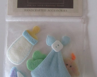 set of 3 stickers of felt and button - boy theme