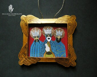 Paper Mixed Media Shadowbox Reyes Ornament - Blue