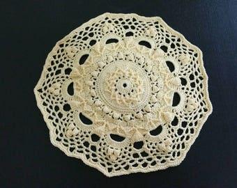 """Handmade Doily - Yellow 7.5"""" ( 19cm )"""