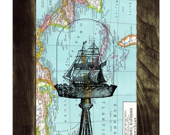 Old Ship on Map Vintage Book Print Dictionary or Encyclopedia Page Print map Print on Vintage Book art SEA012