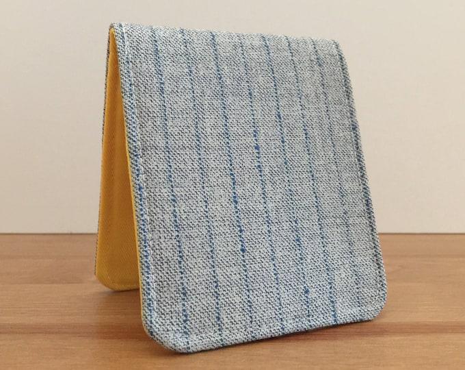 Featured listing image: Mens Slim Wallet / Minimalist BiFold Wallet / Grey Pinstripe Wool