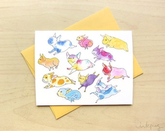 Flying French Bulldog Art Card - Cute French Bulldog gift card or stationery, Frenchie stationery, dog greeting cards  by Inkpug