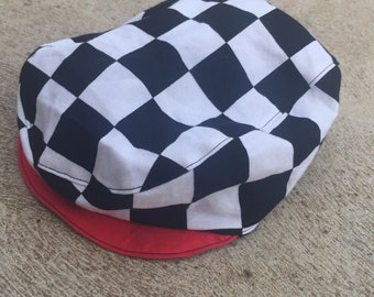Baby and boys black and white checker flag racing rockabilly flat cap newsboy hat