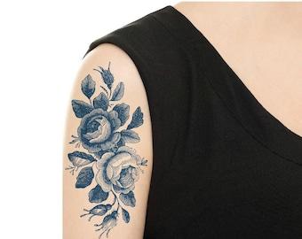 Temporary Tattoo -  Vintage Black Rose Tattoo / Vintage Blue (Delfts Blauw) Dutch Tattoo / Tattoo Flash
