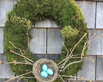 Moss Spring Wreath With Fresh Moss, Lilac Twigs, and handmade Robins eggs in a Nest
