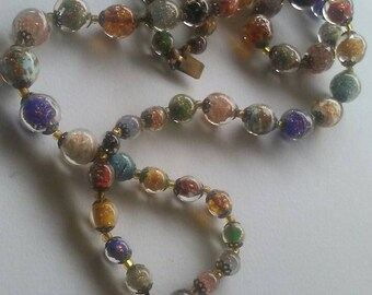 Vintage Murano Multi-Color Bead Double Strand Necklace With Bead Pendant