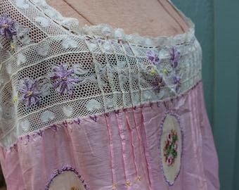 Edwardian Pink Silk Lingerie Sheer Negligee Lace Chemise Honeymoon Heirloom Large by Plantdreaming