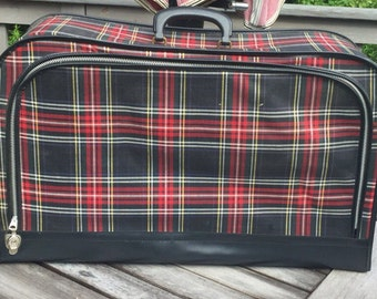 Vintage Luggage Black and Red Plaid Tartan  Measures: 24 x 15 x 8  Very Clean