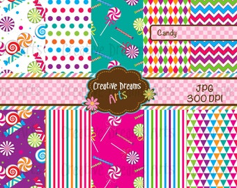 40% Off! Candy Digital Paper Pack Instant Download