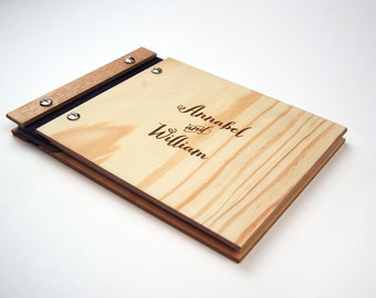 Wedding Guestbook, Wood Book, Engagement, Fifth Anniversary or Bridal Shower Gift