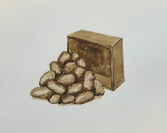 ANTONIO TOCORNAL #493 Brown Box & Pile of Rocks Sepia Watercolor Original Painting Artist Signed Vintage Eclectic Minimalist Kitsch Abstract