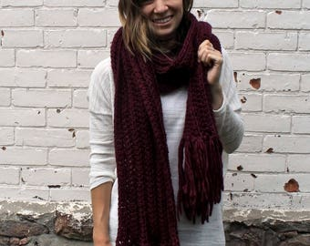 Open Ended Ribbed Scarf | Tassel Winter Scarf