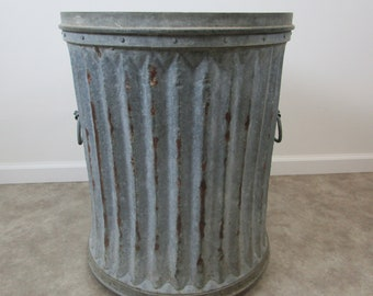 Large vintage rivited industrial trash can galvanized metal oscar the grouch style steampunk
