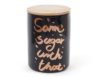 Porcelain Jar SomeSugar with that with a bamboo lid, color - black with gold