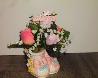 Small Baby Girl Floral Arrangement in Ceramic Baby Booties Vase, Its a Girl Sign, Pink Rose & Ivory Flowers Baby Shower Arrangement SAF1008
