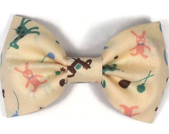 sweet little hair bow with cute toy rabbit, rocking horse, and giraffe - nursery hair clip - adorable hair accessory