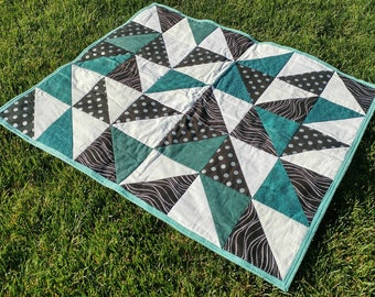 Teal, White and Black Geometric Baby Quilt