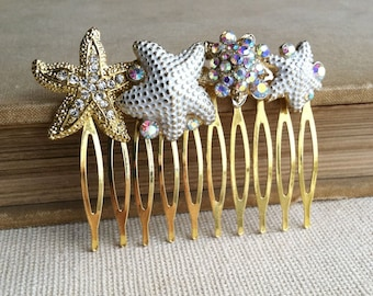 Beach Wedding hair accessories, White Ivory gold Starfish hair comb, gold hair accessories, swarovski Bridal destination wedding