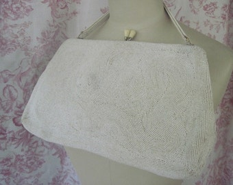 Vintage Magid Beaded White Purse