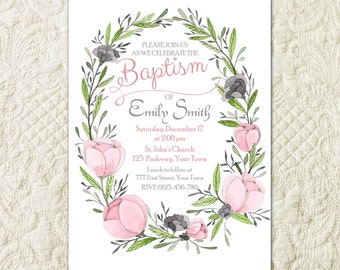 Floral Baptism Invitation, Flower Baptism Invitation, Girl First Communion Invitation, Religious Invitation, Girl Christening Invite
