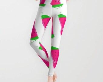 Leggings - Watermelon Art Leggings - Yoga Pants - Yoga Leggings - Tights - Fun Summer Print - Made to Order