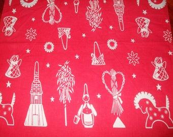 SALE Cotton Scandinavian Textile Scandinavian with Gnomes Christmas Table Topper/home decor