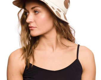 Vintage 1960s Jolly White and Beige Hat